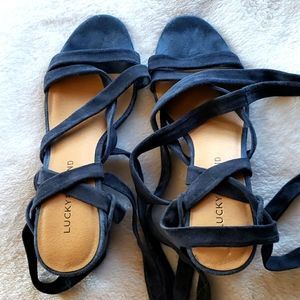 Lucky Brand blue suede wrap sandal